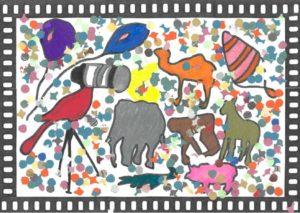 Dessin d'animaux très colorés