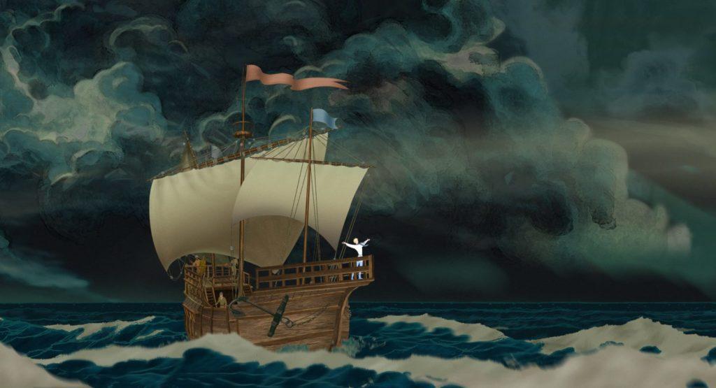 Visuel du film d'animation Azur et Asmar de Michel Ocelot. Grand bateau dans une tempête
