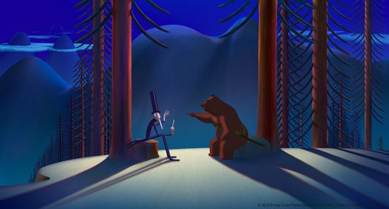 visuel du film d'animation la fameuse invasion des ours en Sicile de Lorenzo Mattotti. Scène dans la nuit, l'ours et le magicien sont assis dans une forêt
